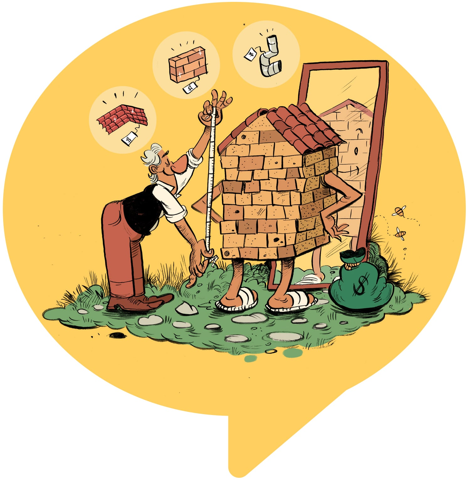 illustration of man renovating a cottage home