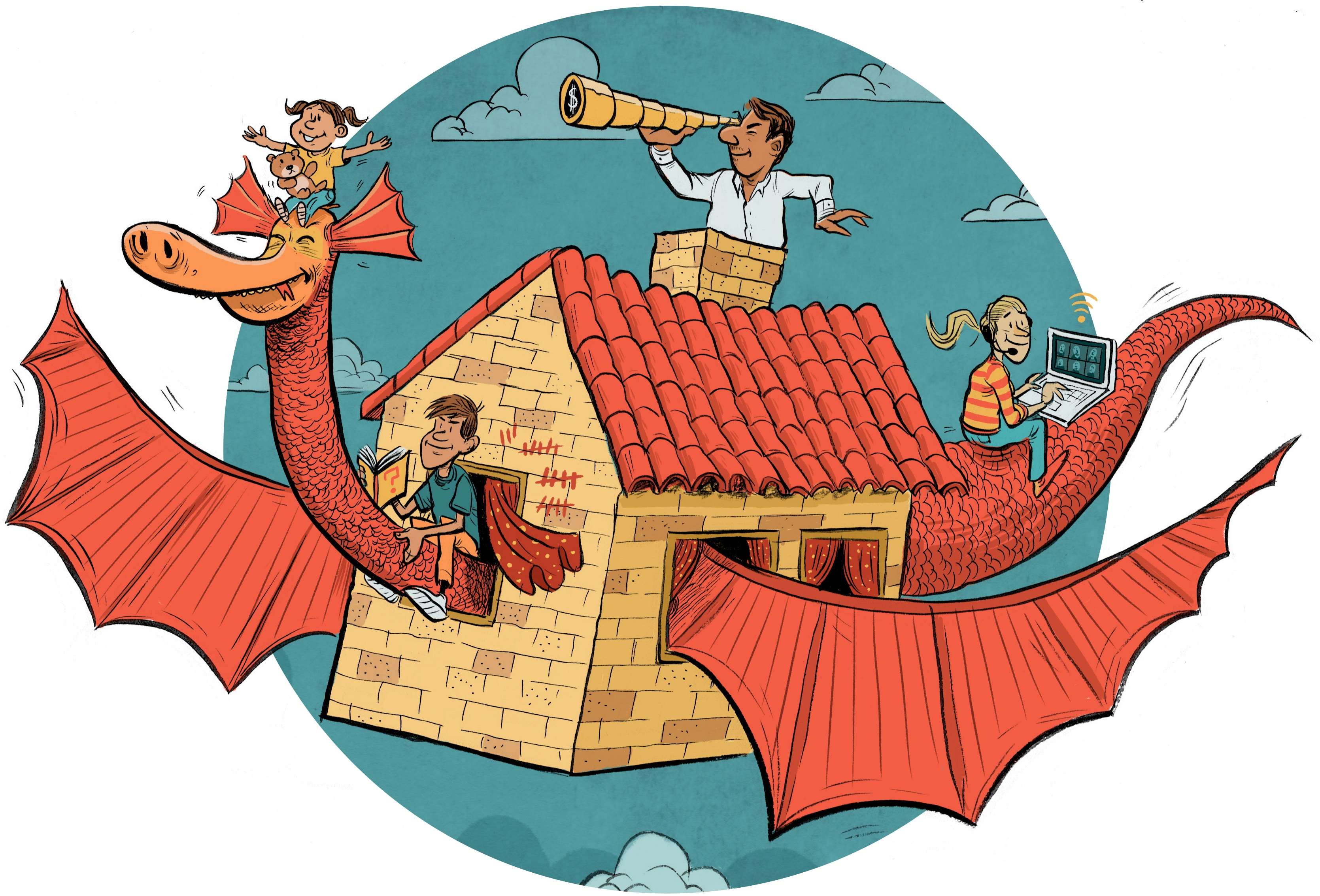 illustration of children playing at the house