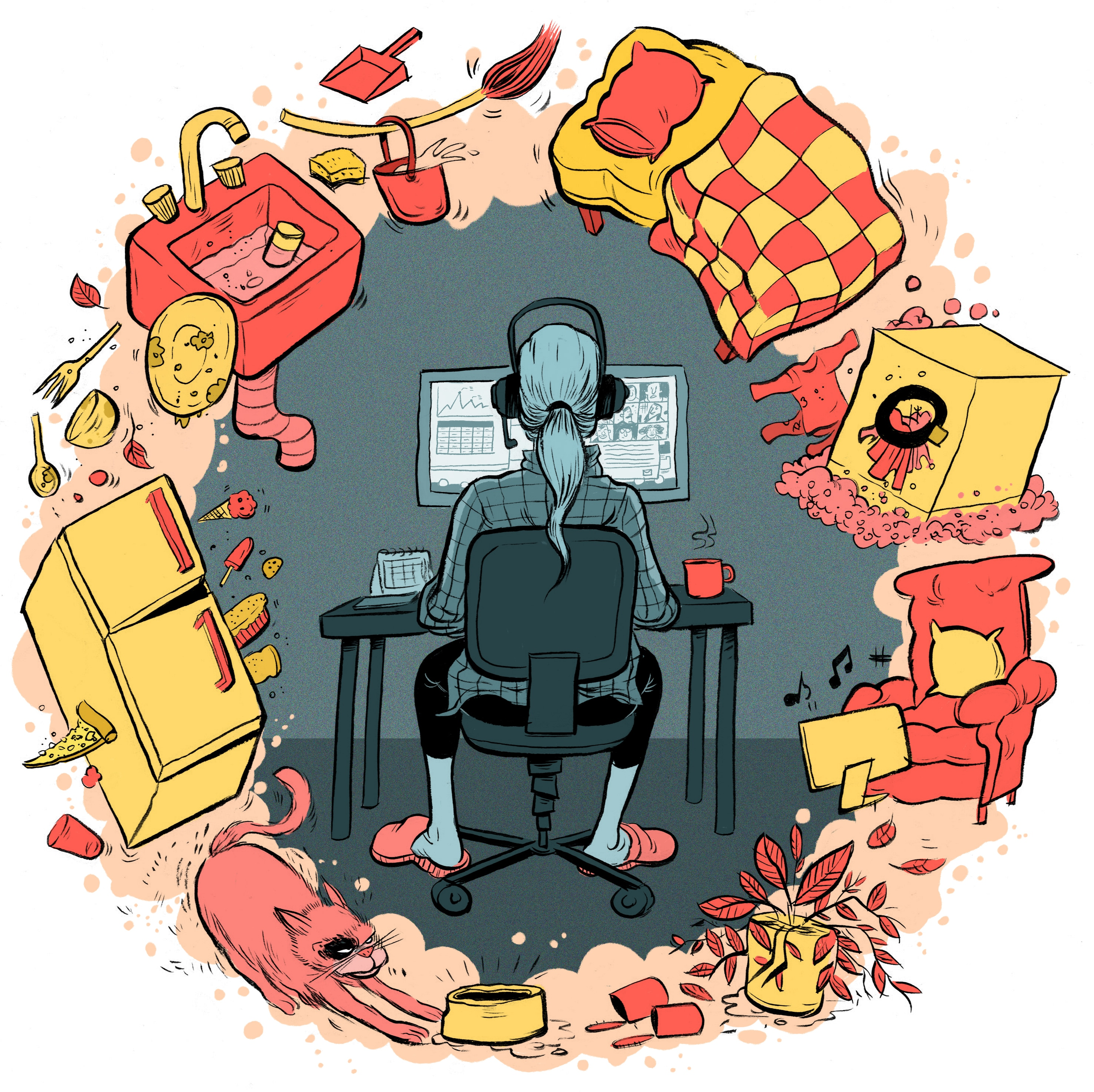 illustration of a person working from home