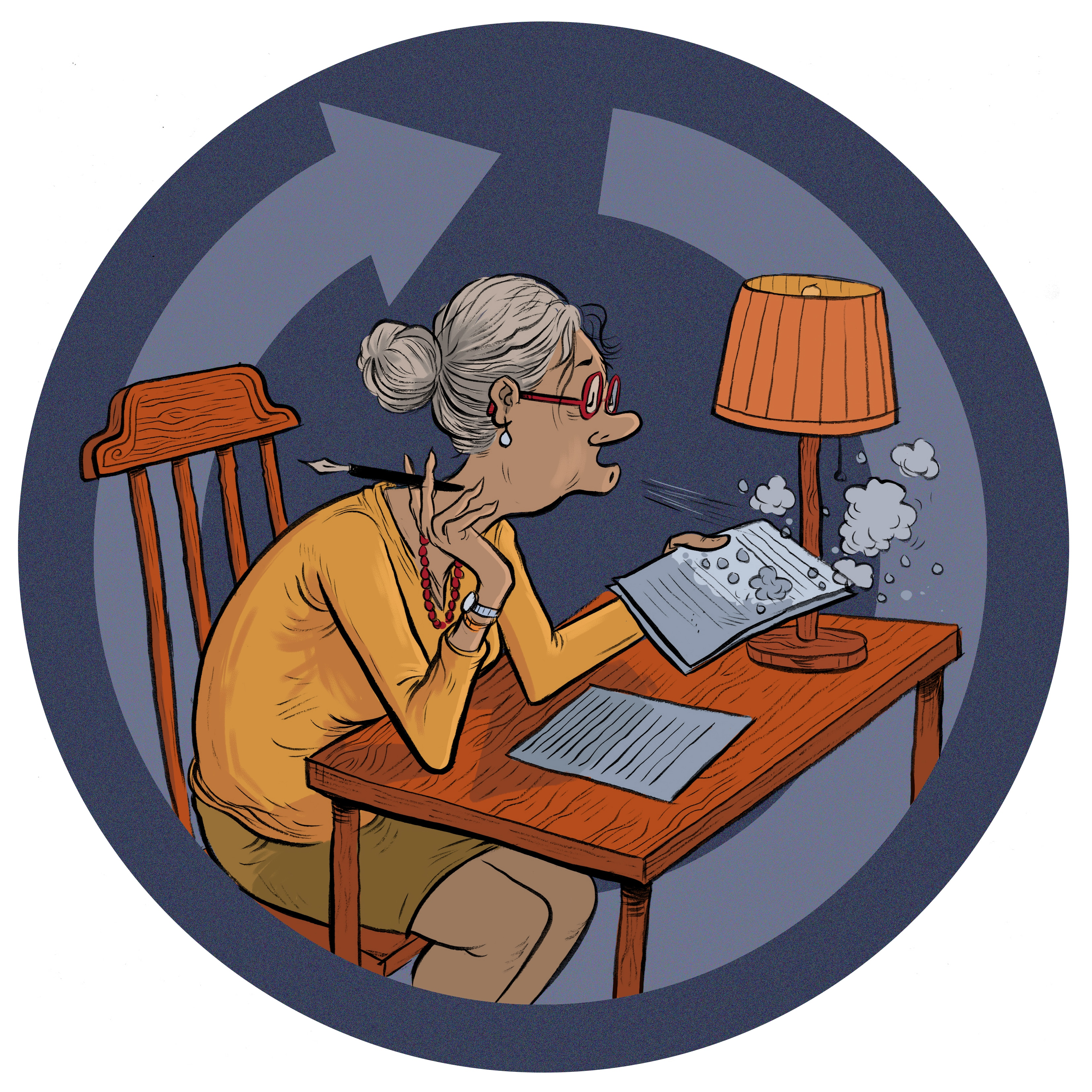 illustration of elderly woman writing a will