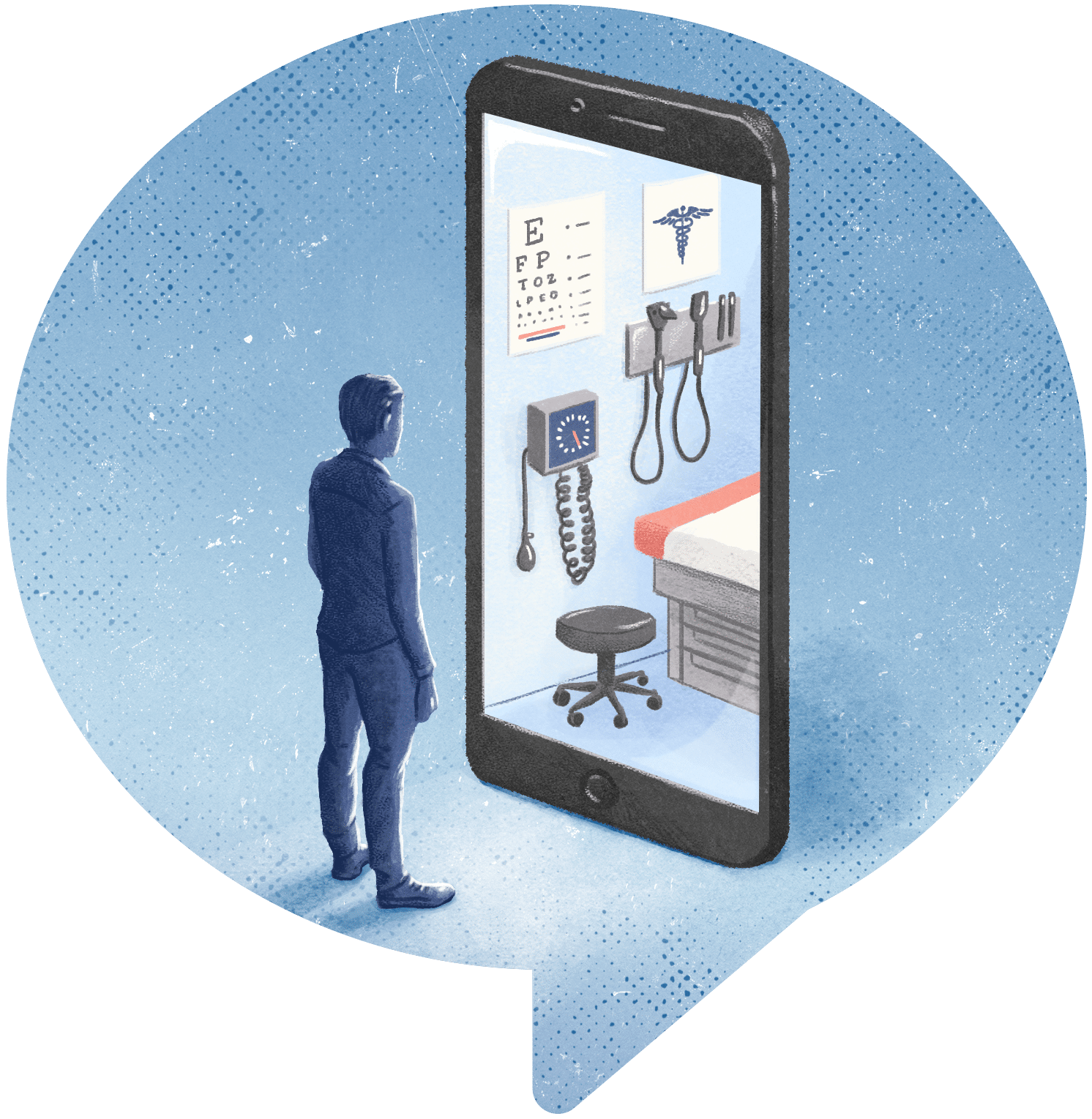 illustration of man looking at a health clinic through his phone