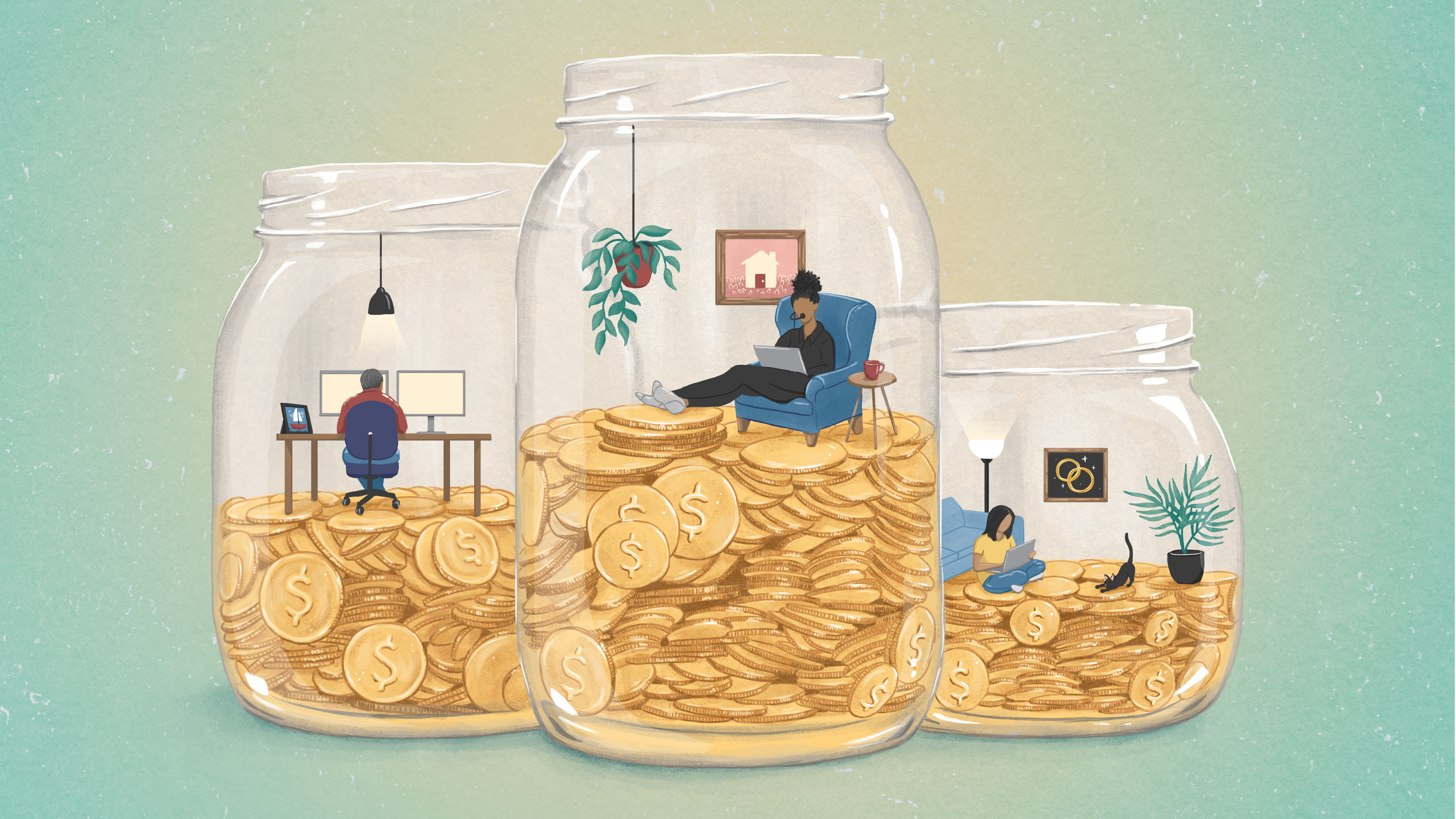illustration of people working from home on top of a big stack of coins