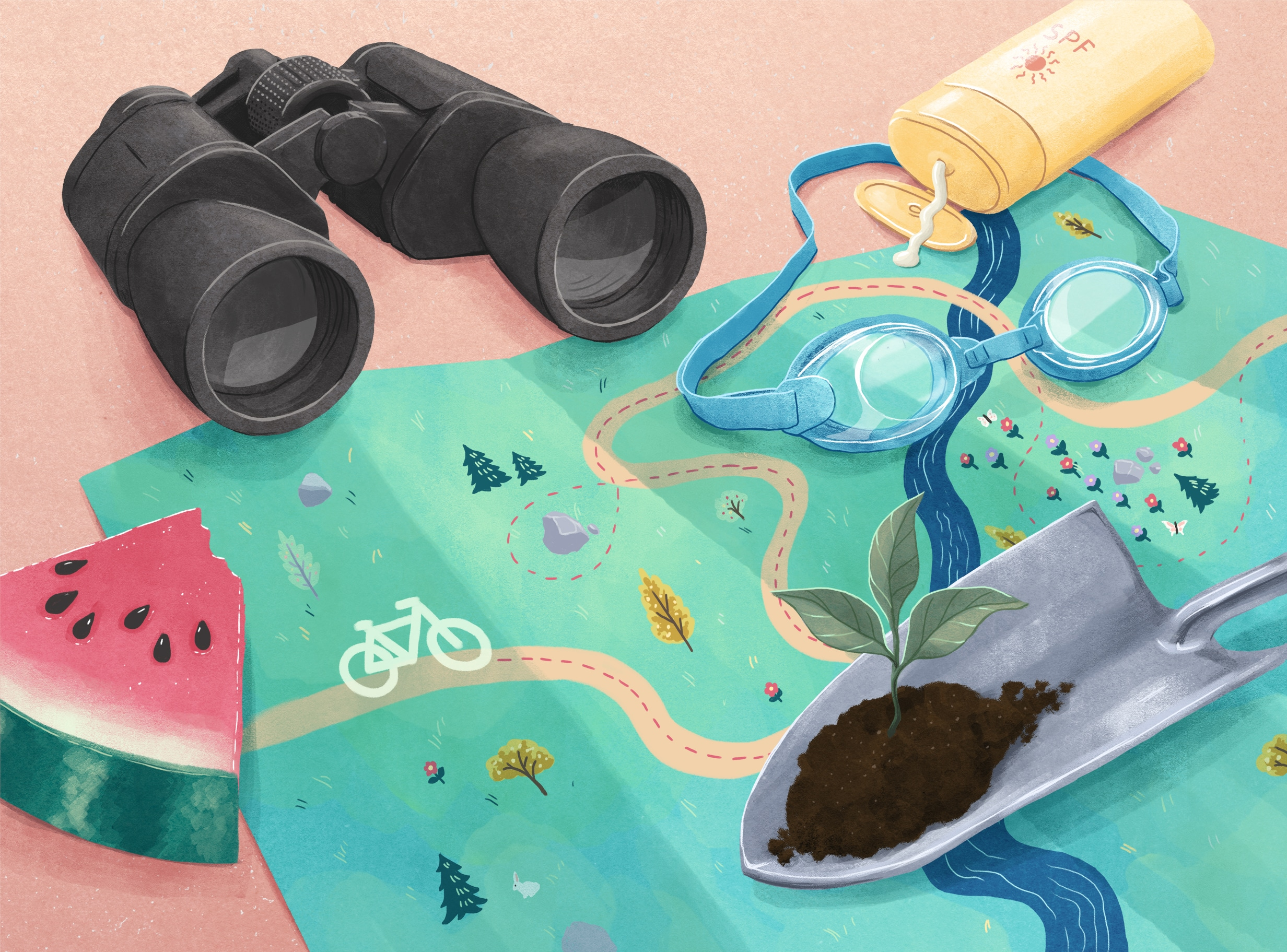 illustration of various vacation items