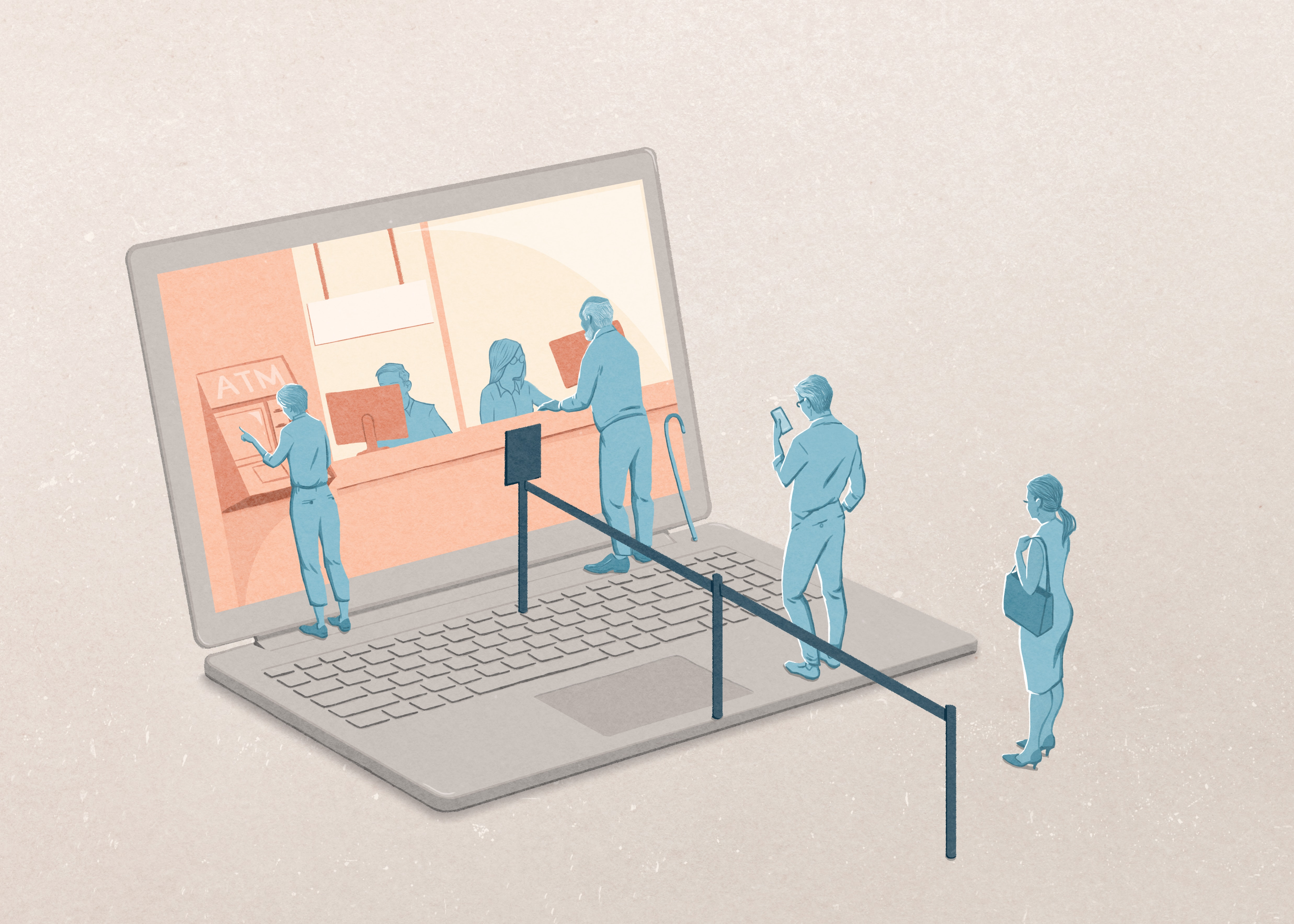 illustration of people lining up to a computer screen