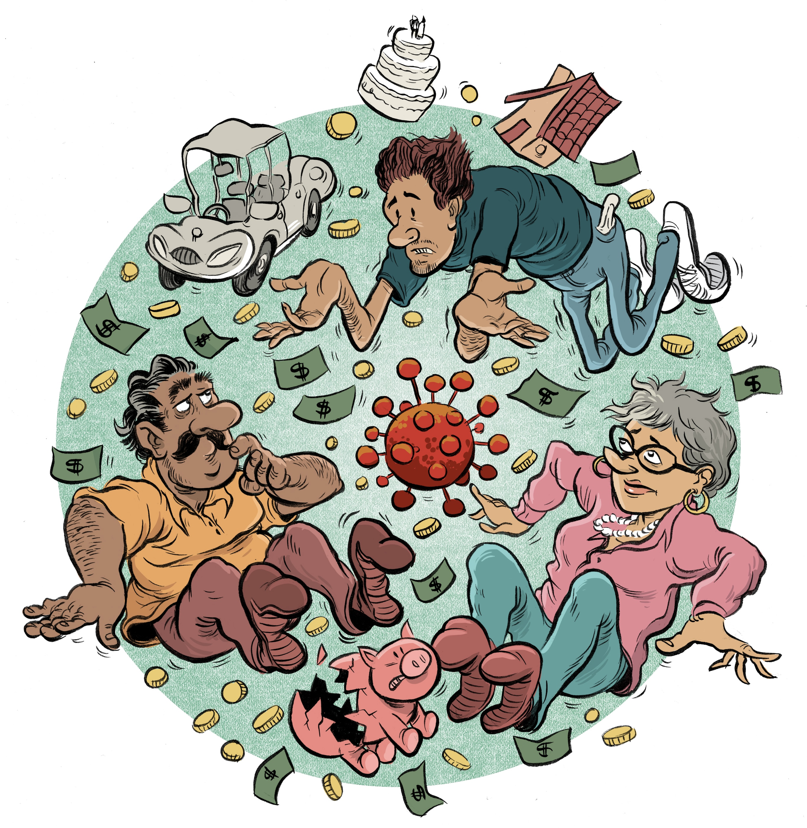 illustration of kids and parents with financial imagery