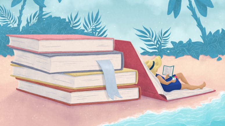 illustration of a woman reading by a stack of books