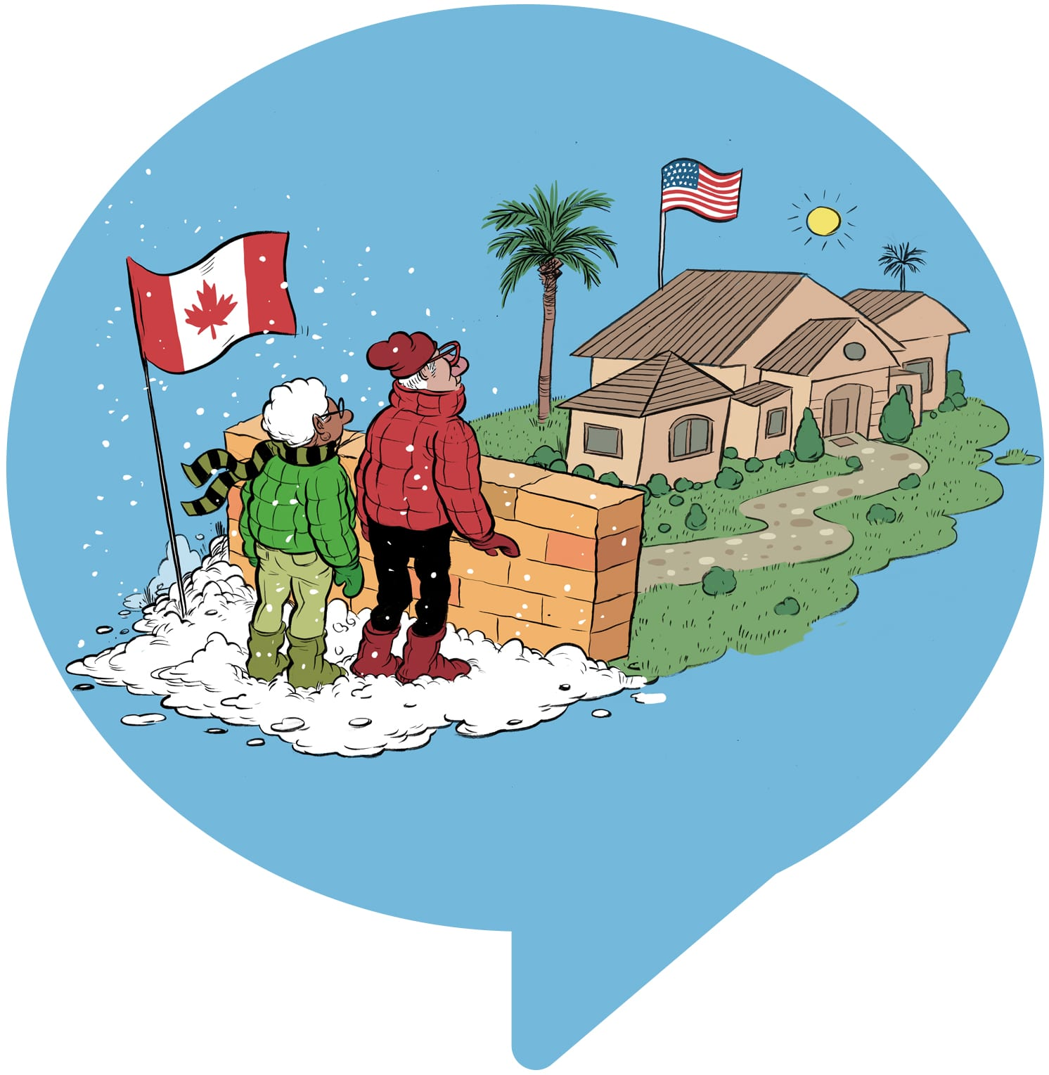 illustration of a canadian couple looking to cross the border to the us