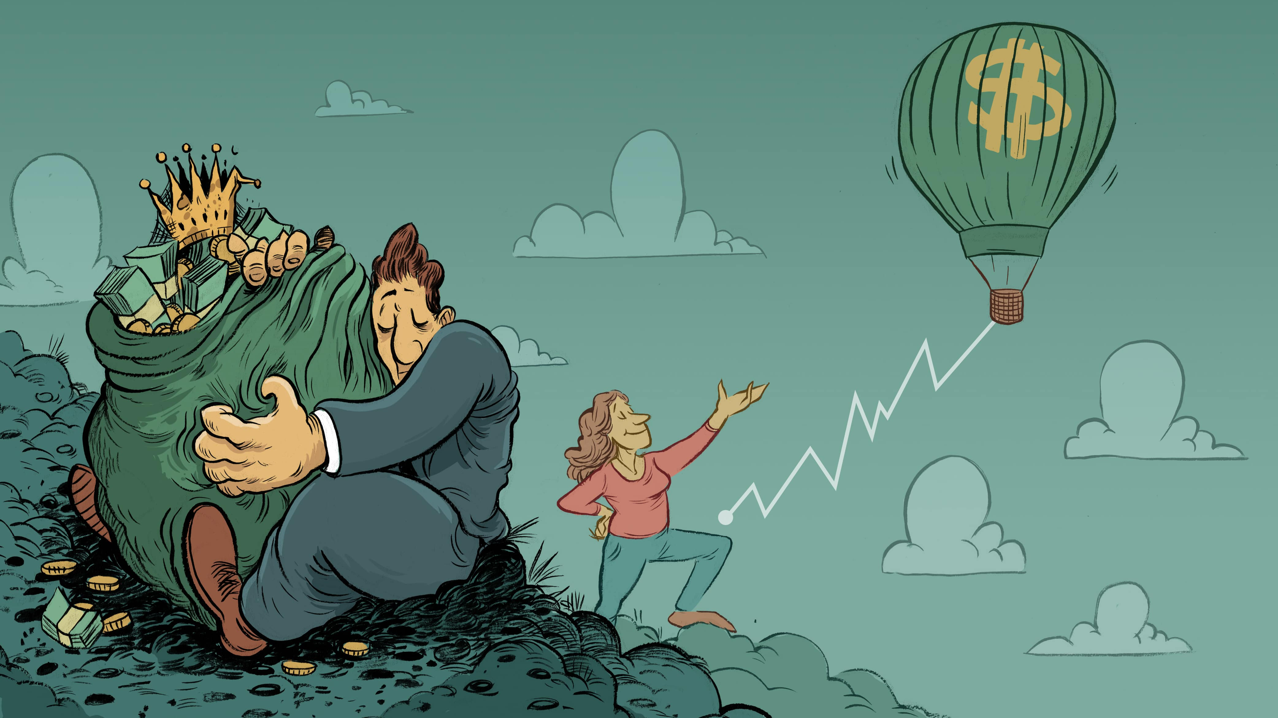 An Illustration of a man in a suit holding on to a bag of cash, with an old rusted crown in it. The cash isn't growing its just there. In the background is a lady who is investing and that is represented with a hot air balloon which is slowly and steadily rising.
