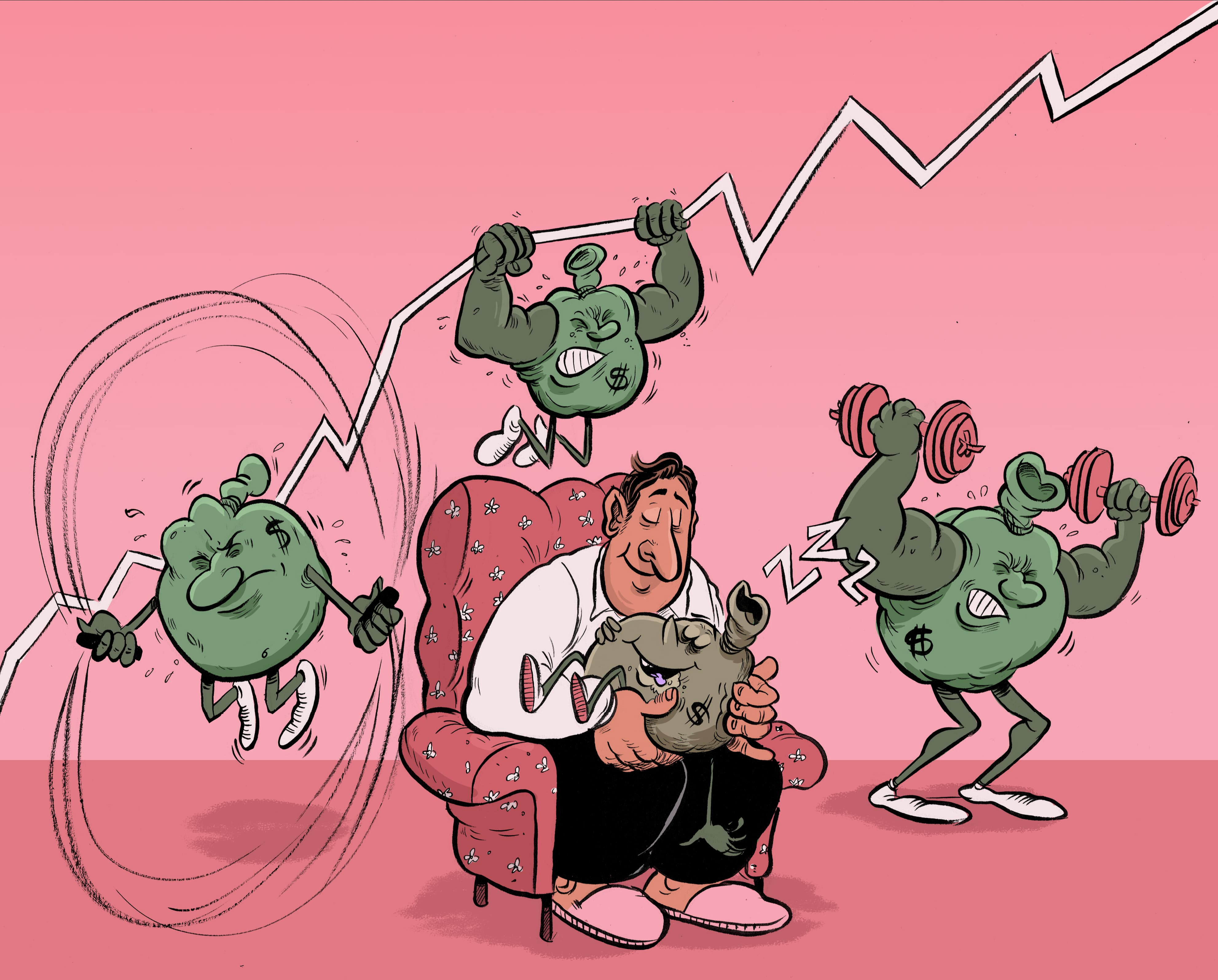 The illustration shows a man with cash bag characters sitting in his lap sleeping, while there are cash bags in the background exercising and getting stronger. The purpose is to show that you shouldn't just sit on your savings.