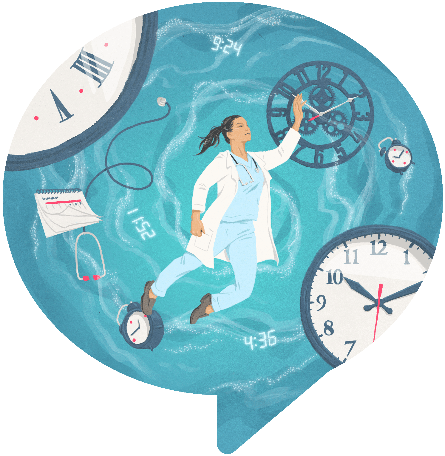Female doctor floats in whirlpool of clocks, calendars and medical equipment