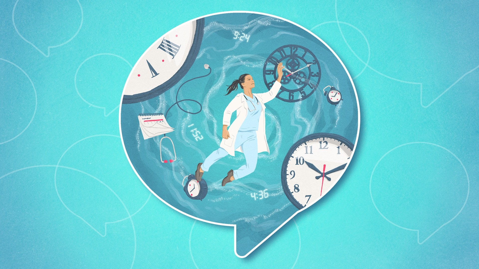 Female Doctor floats in a whirlpool of clocks, calendars and medical equipment