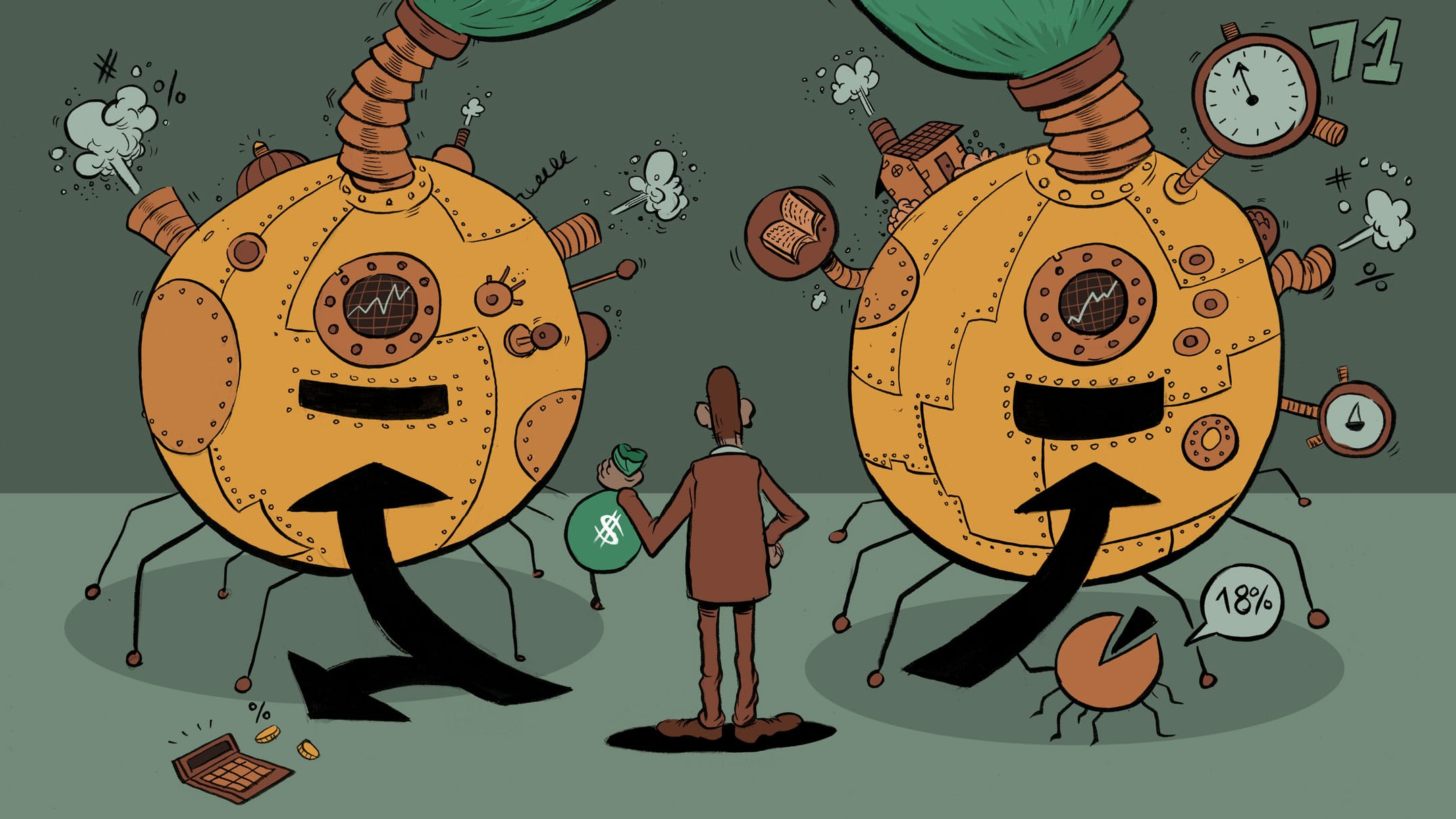 An illustration showing a person choosing between TFSA and RRSP as a way of growing his money.