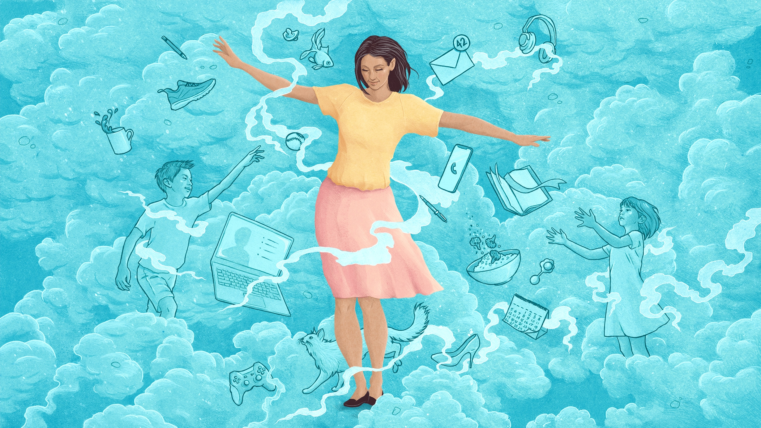 Middle aged woman navigating through swirling clouds that contain important things in her life; children, pets, work, leisure items.