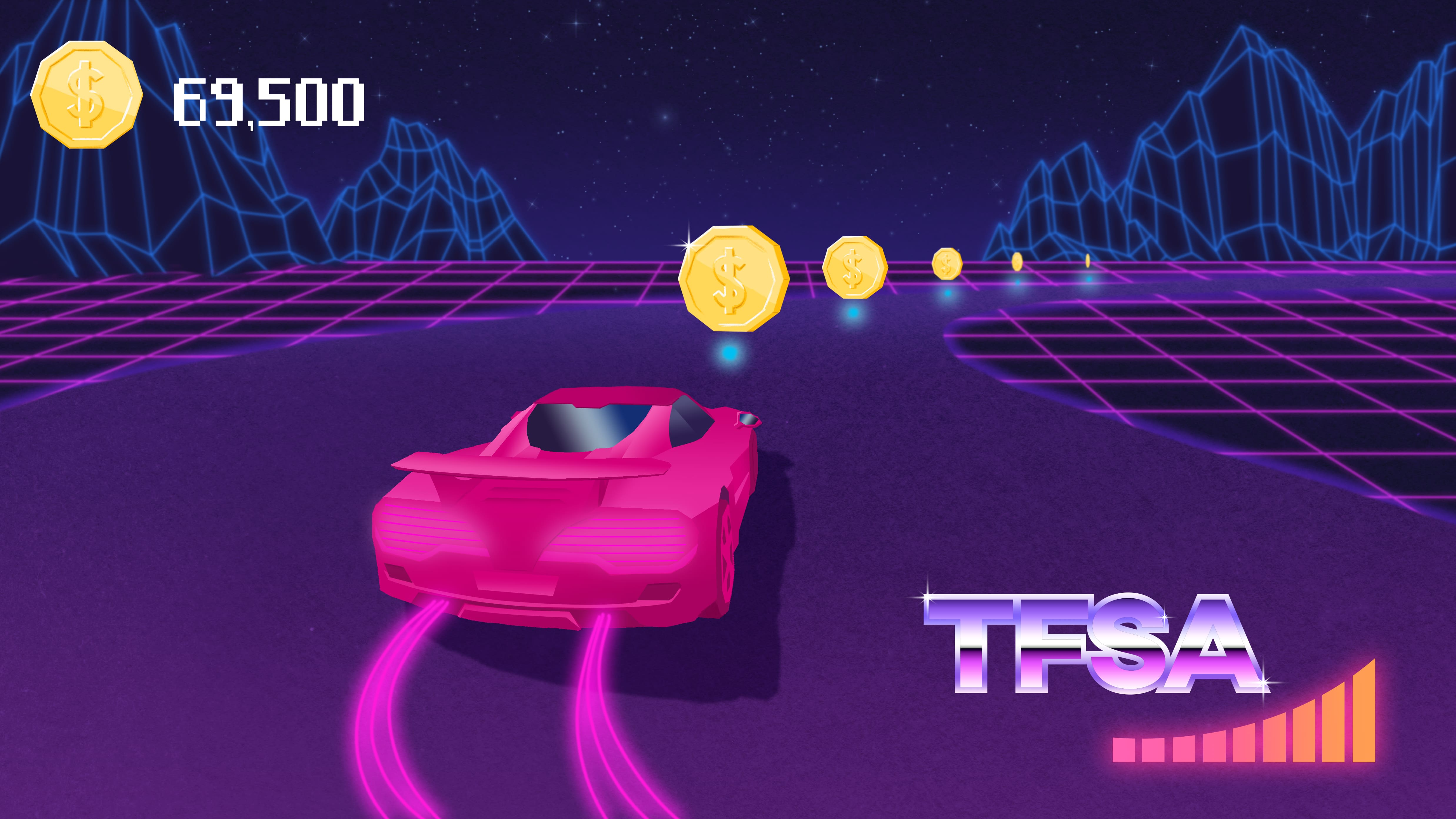 Video game race car collects coins on a stylized racetrack.