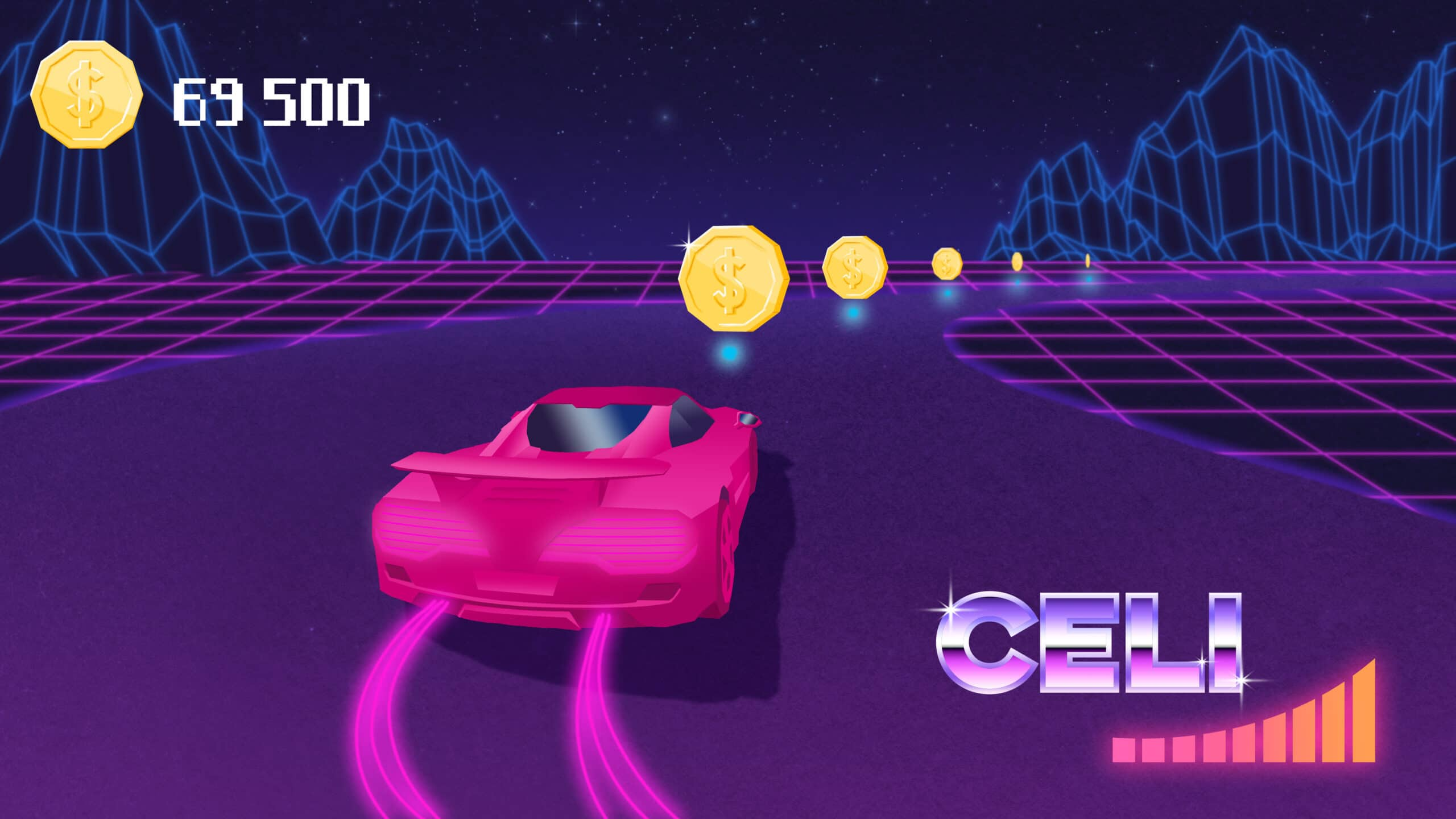 Videogame racecar collects coins on a stylized racetrack.