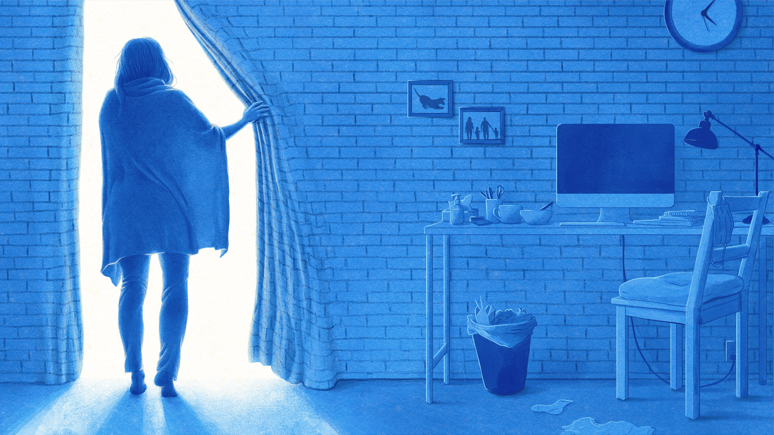 Illustration of woman in lockdown, pulling back her brick wall like a curtain to bring light into her workspace.