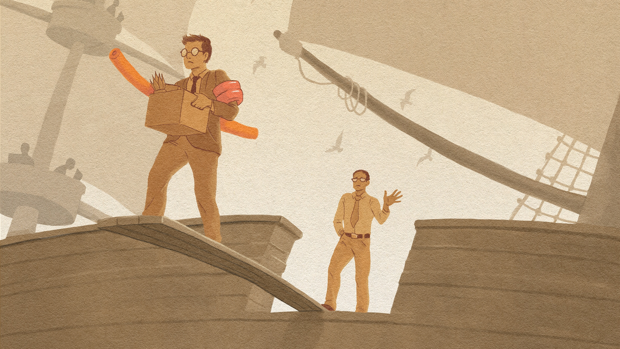 Illustration of an employee walking the plank wearing waterwings and a pool noodle while his boss waves goodbye on the deck of the ship.