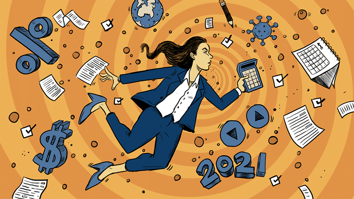 Illustration of a woman holding a calculator, in a swirling spiral of tax-related paperwork, calendars and symbols.