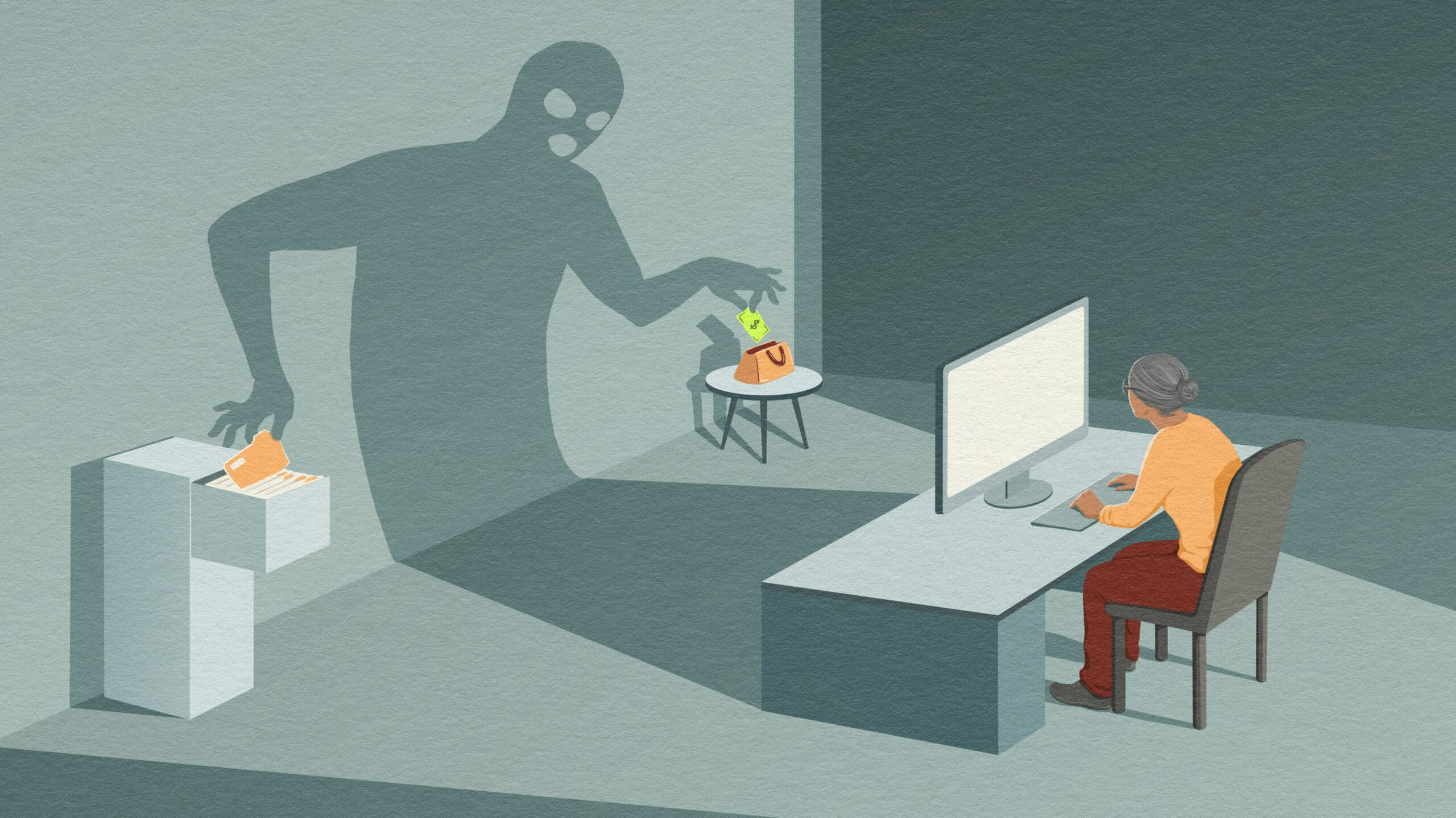 Illustration of senior woman working at her computer. The shadow cast from the computer is in the shape of a masked person, stealing money from her purse and information from her file cabinet.