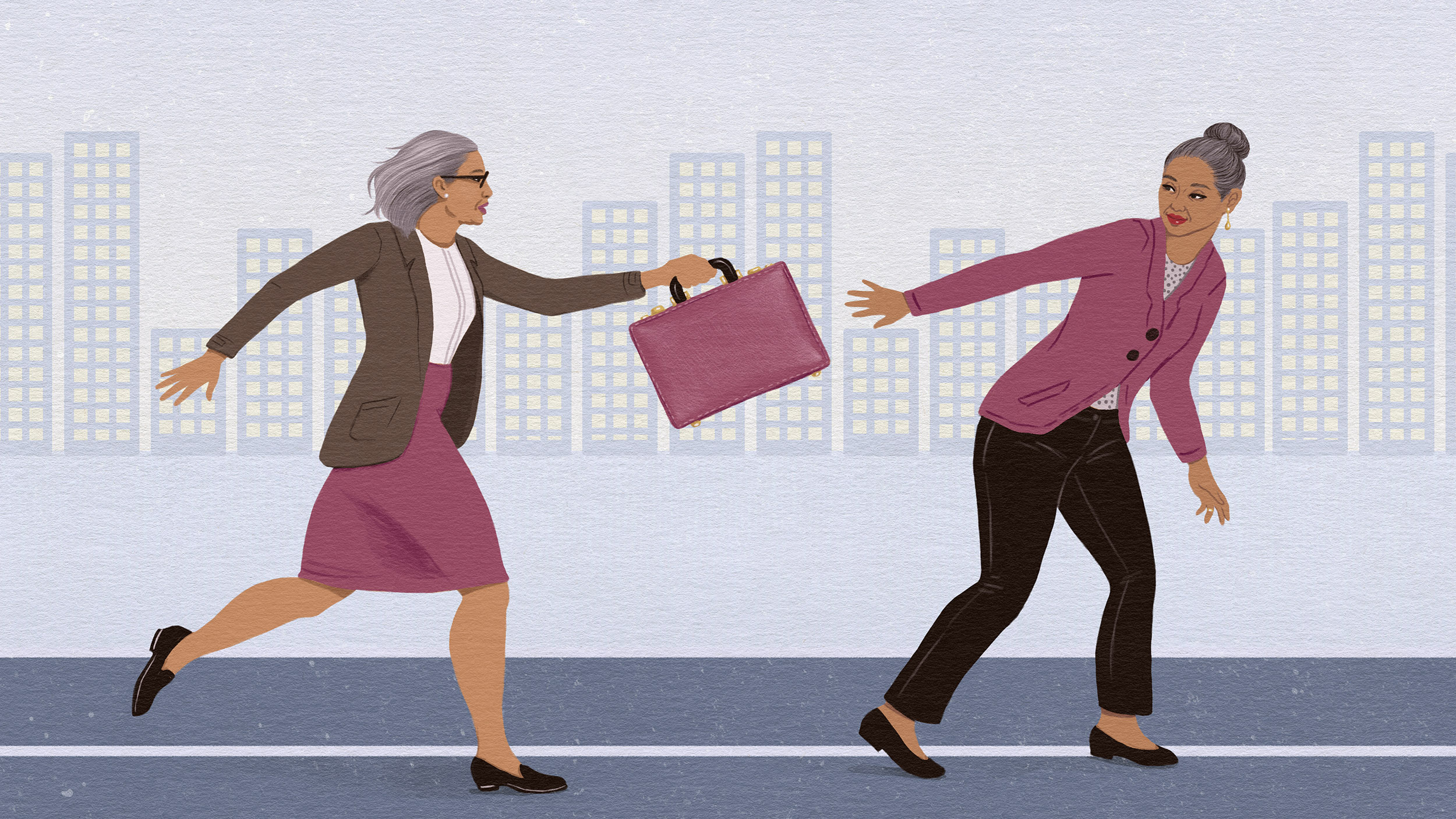 Illustration of one business woman passing a briefcase to another business woman as if in a relay race.