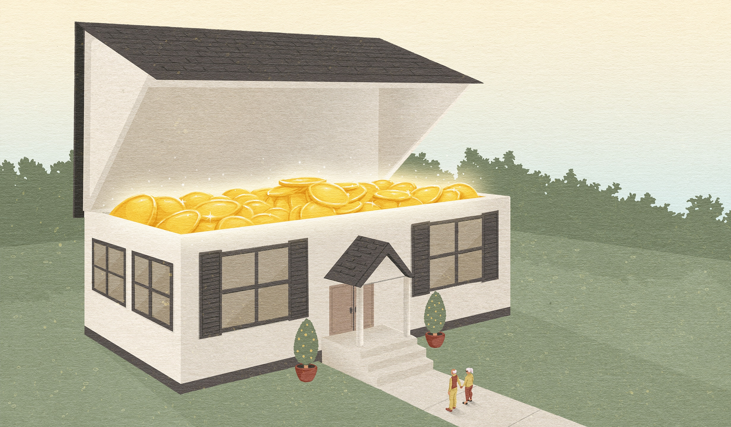 Illustration of a house opening like a treasure chest to reveal shiny gold coins inside. The couple that owns the house stands in front of it.