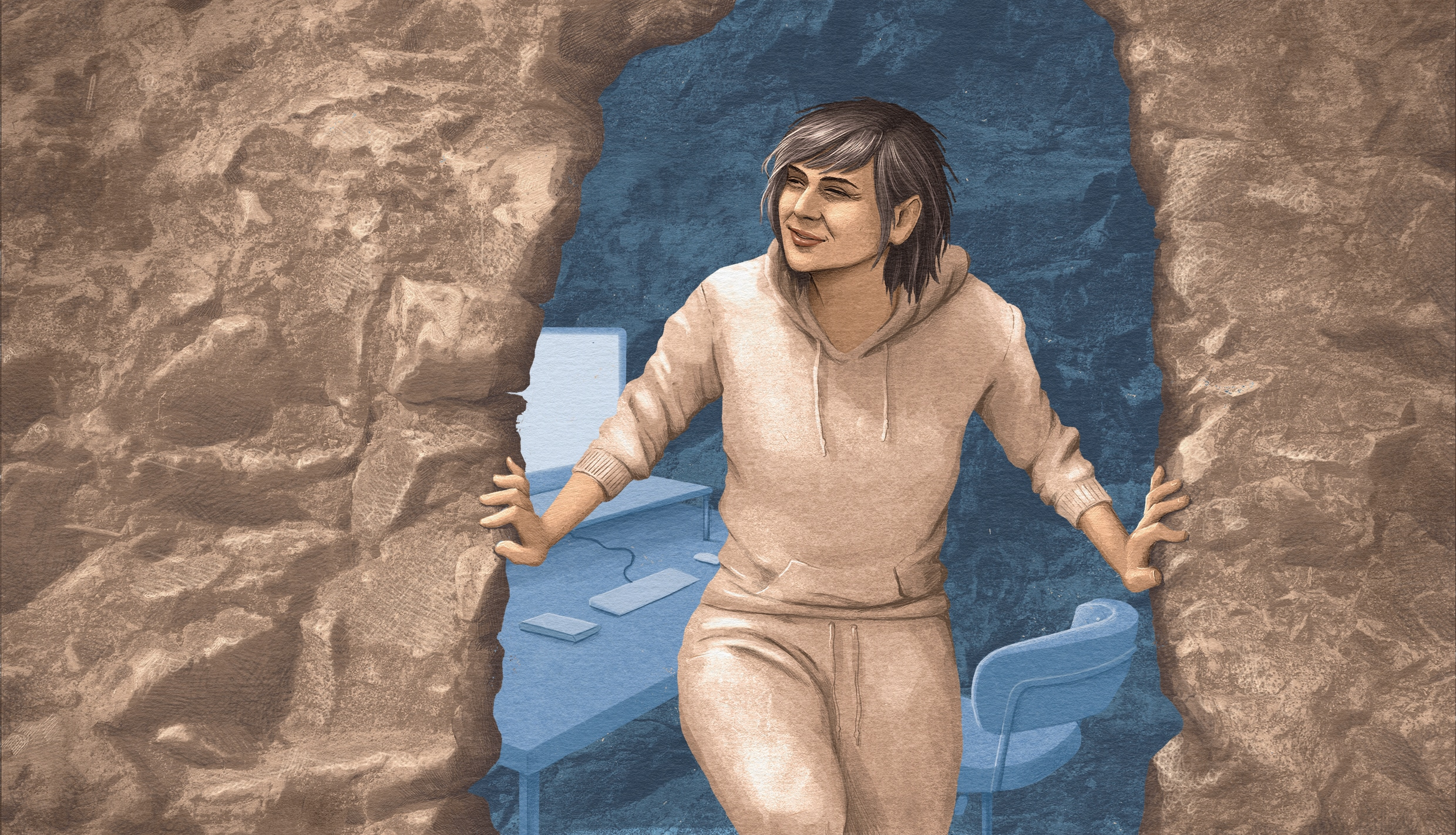 Illustration of a woman emerging from a cave, squinting into bright sunlight. She has rumpled hair and is wearing a sweatsuit, and a home office can be seen in the cave.
