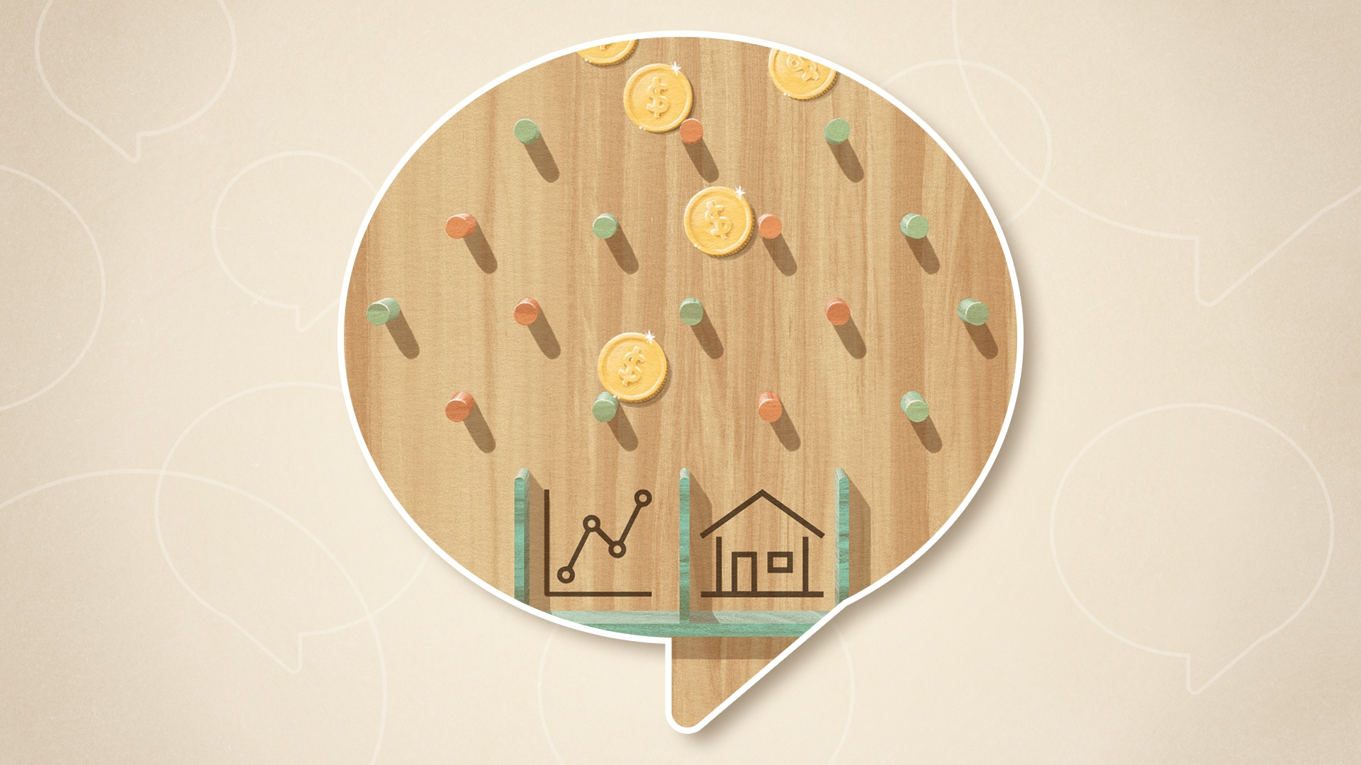 Illustration of a Plinko game, where coins are falling and hitting pegs, and the buckets at the bottom display symbols of a stock market graph and a house.