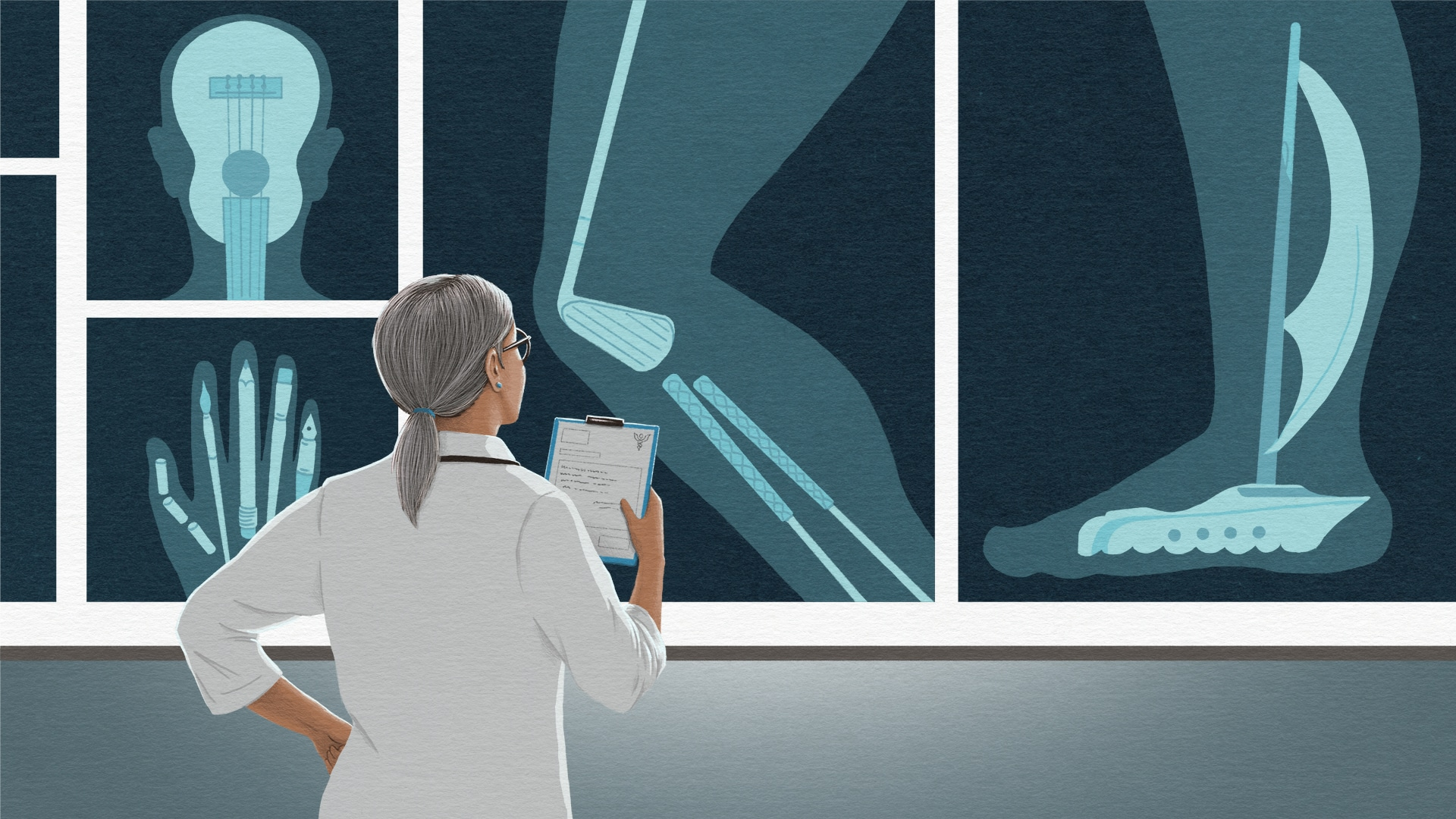 Illustration of a doctor holding a clipboard and examining x rays. But the bones in the x rays look like retirement-related activities.