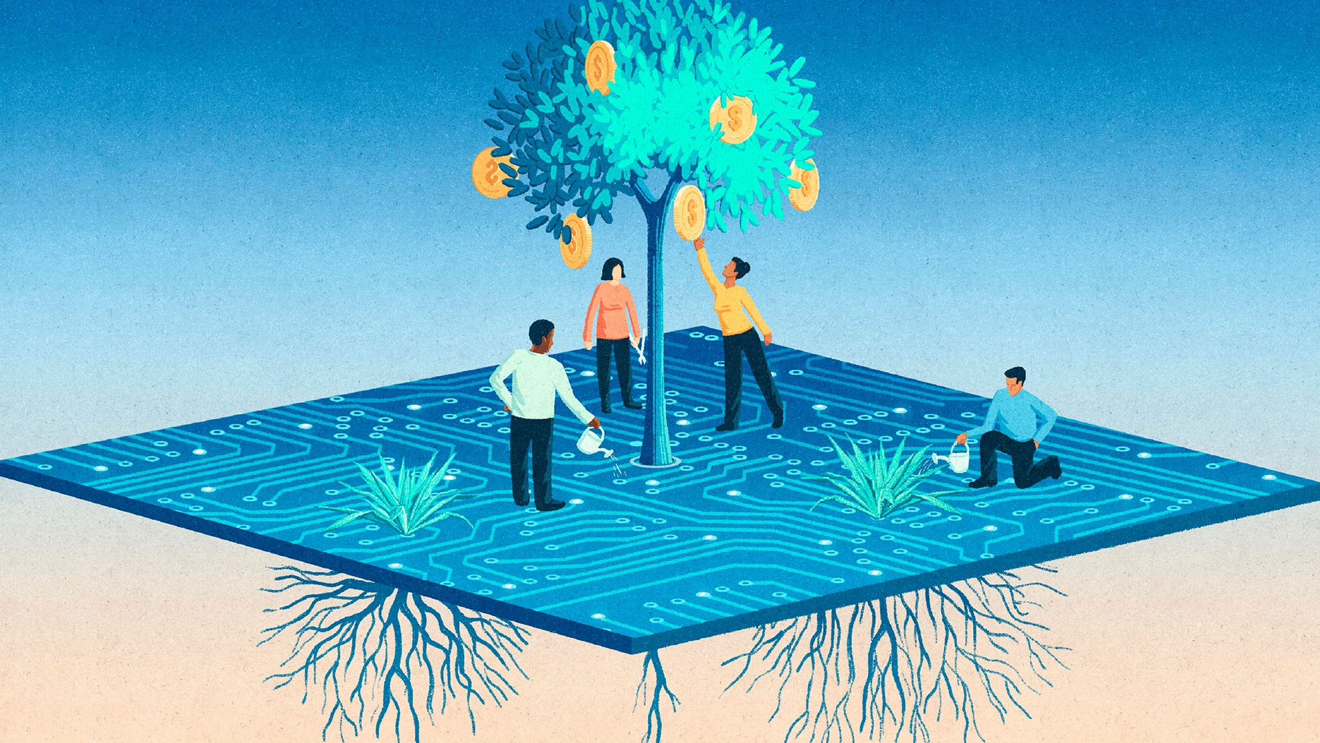 Illustration of people standing on a computer chip. Most of them are standing under a fast-growing money tree with poor roots, while one person waters a slow-growing plant with a strong root system.