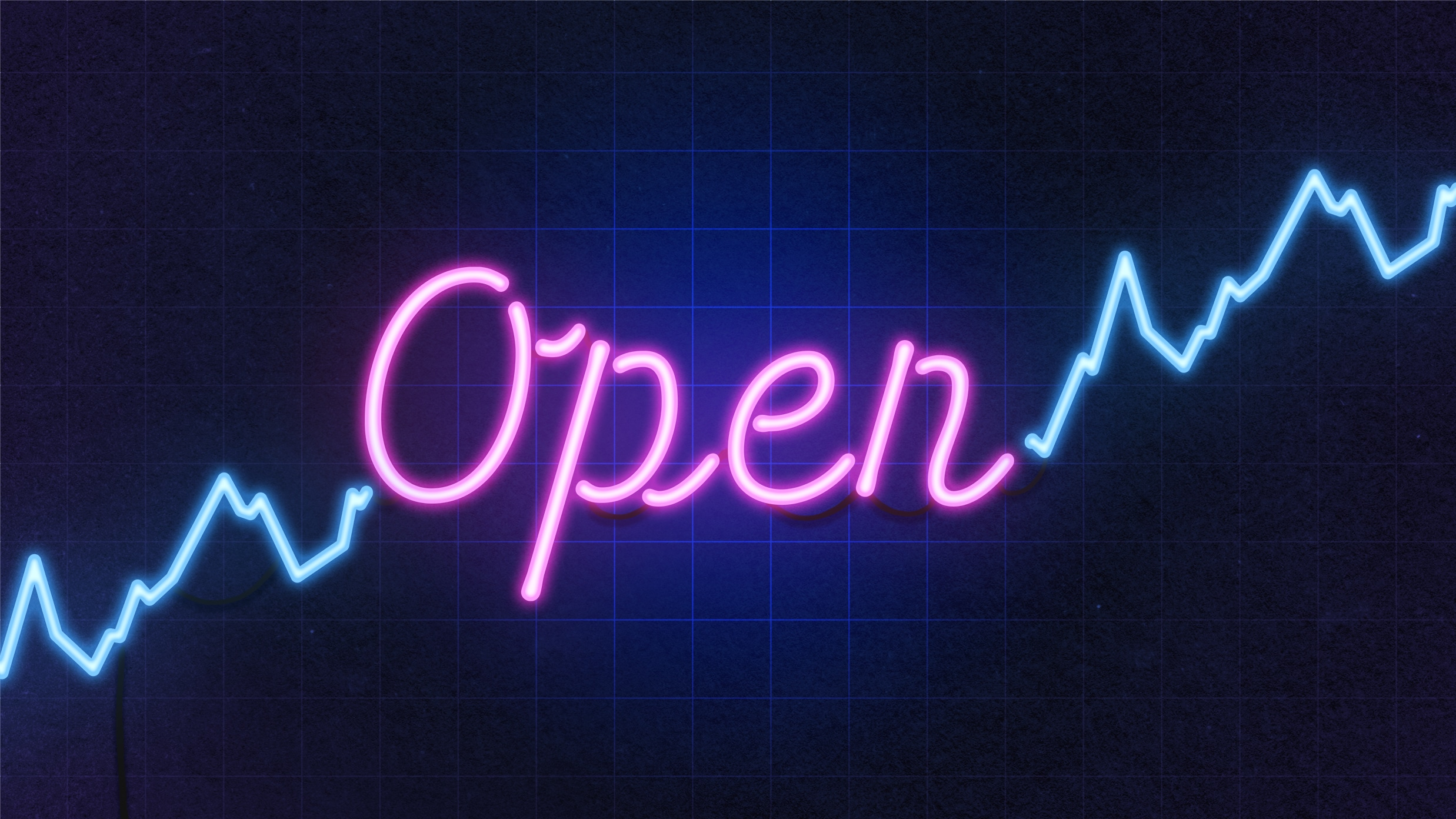 """Illustration of a bright neon sign that depicts a stock market chart and the word """"Open""""."""