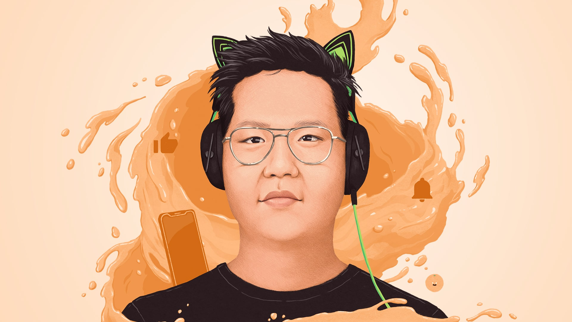 Illustration of YouTuber Jimmy Chau wearing his iconic cat-ear headset and surrounded by a swirl of orange juice.