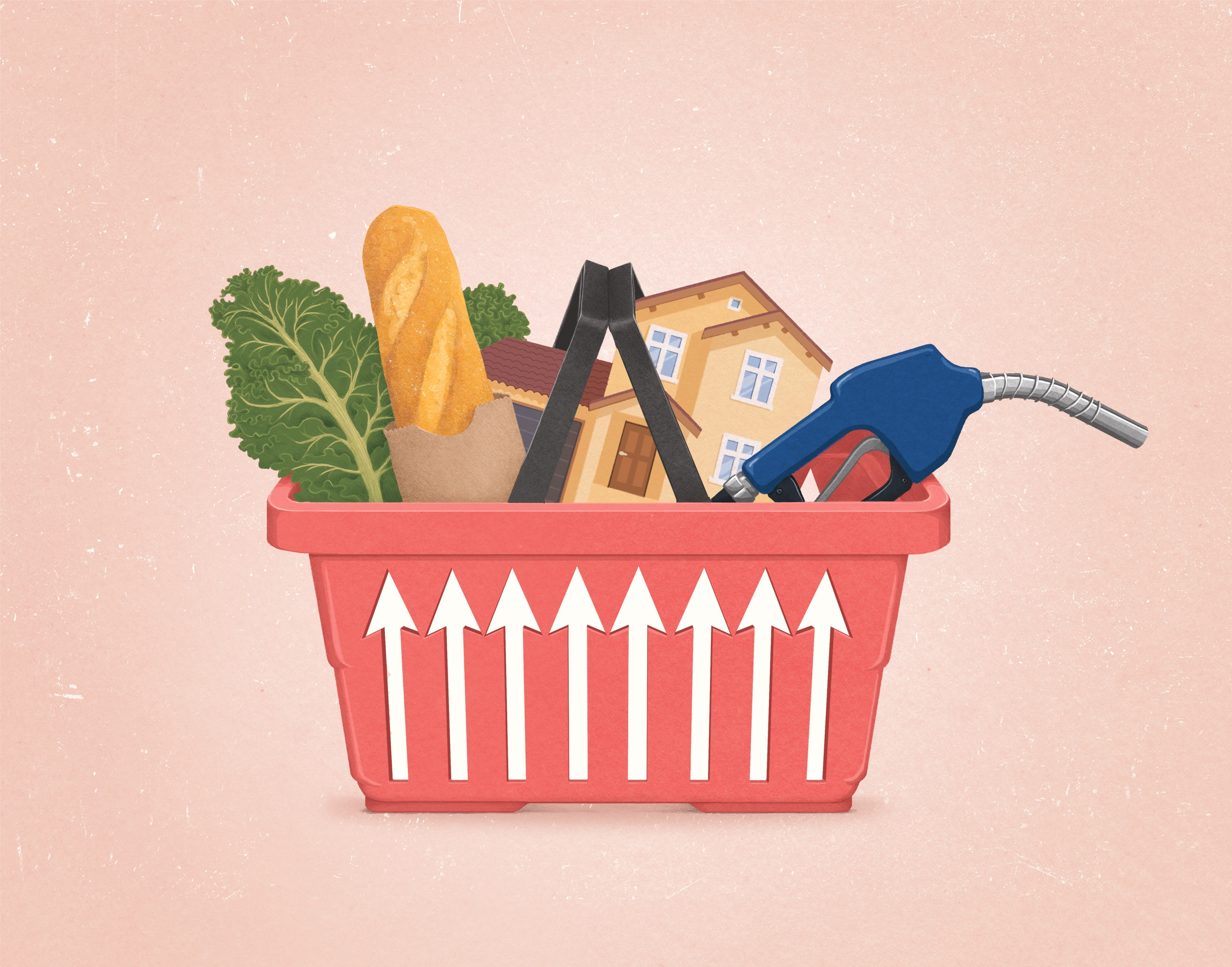 Illustration of a shopping basket filled with bread, kale, a gas pump nozzle, and a house. The grating on the sides of the basket are shaped like up arrows.