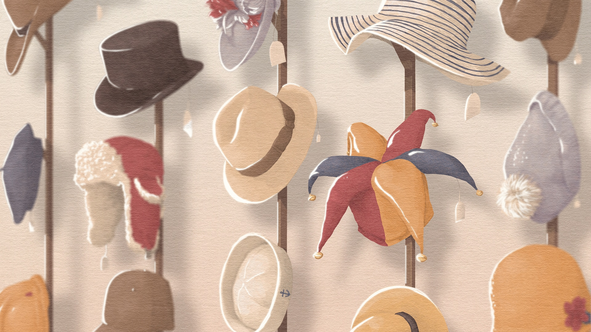 Illustration of various styles of hats, with different sizes of prices tags hanging from them.