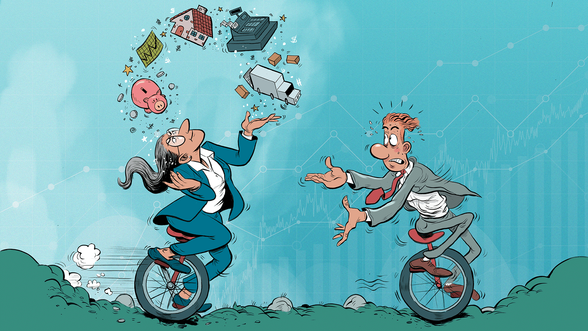 A Business owner is juggling various tasks in her business while riding a metaphorical unicycle while a business successor awaits anxiously.